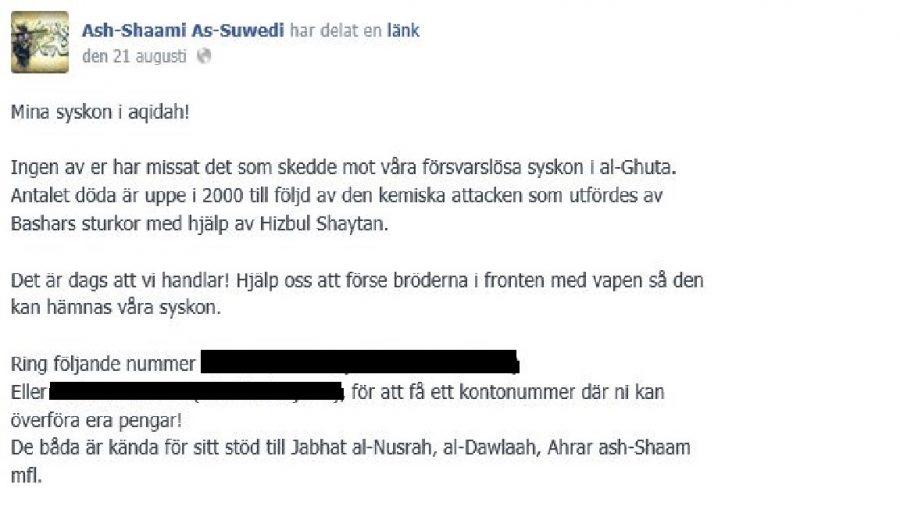 Ett av inläggen som enligt åklagaren utgör terrorbrott.