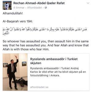 Skärmdump från Redzan Rafats facebooksida.