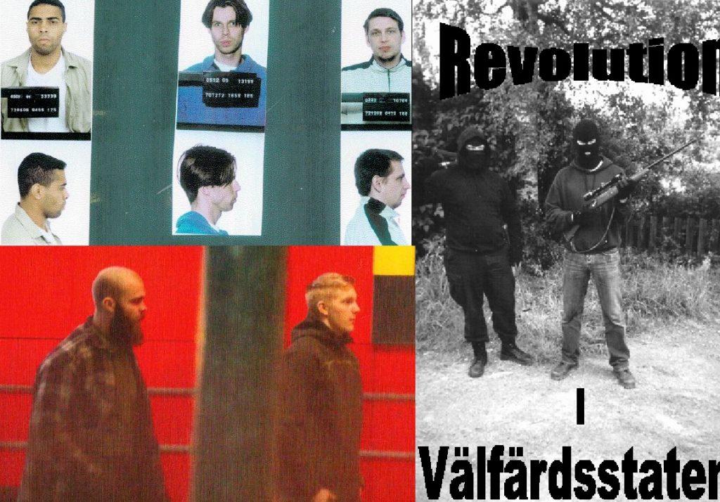 """Längst upp t.v.: Polisens bilder på Jackie Arklöf, Andreas Axelsson och Tony Olsson. T.h.: Skriften """"Revolution i Välfärdsstaten"""" som nämns i artikeln. Längst ner t.v.: Säpos spaningsfoto på Viktor Melin och Anton Thulin."""