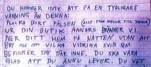 Ur ett av de hotbrev som Viktor skrev till företagare. Foto: Polisen